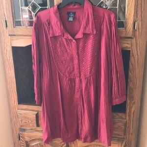 Ellos Burgundy Blouse. Plus Size 2X.
